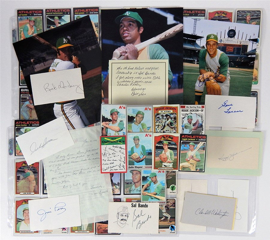 Collection of Oakland Athletic's Autographs, Cards and Letters