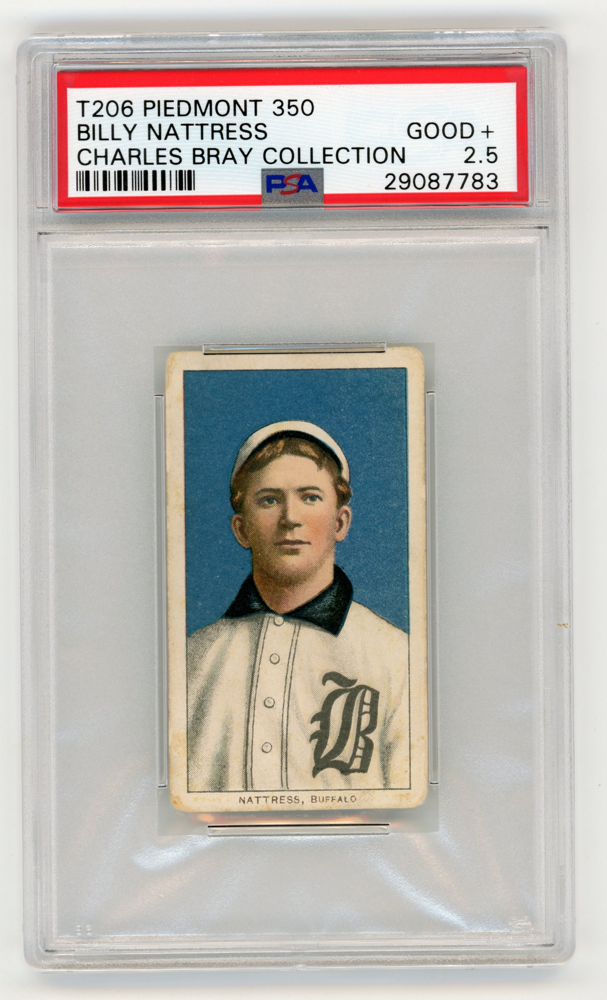 T206 Piedmont 350 Billy Nattress PSA GOOD+ 2.5 From the Charles Bray Collection.