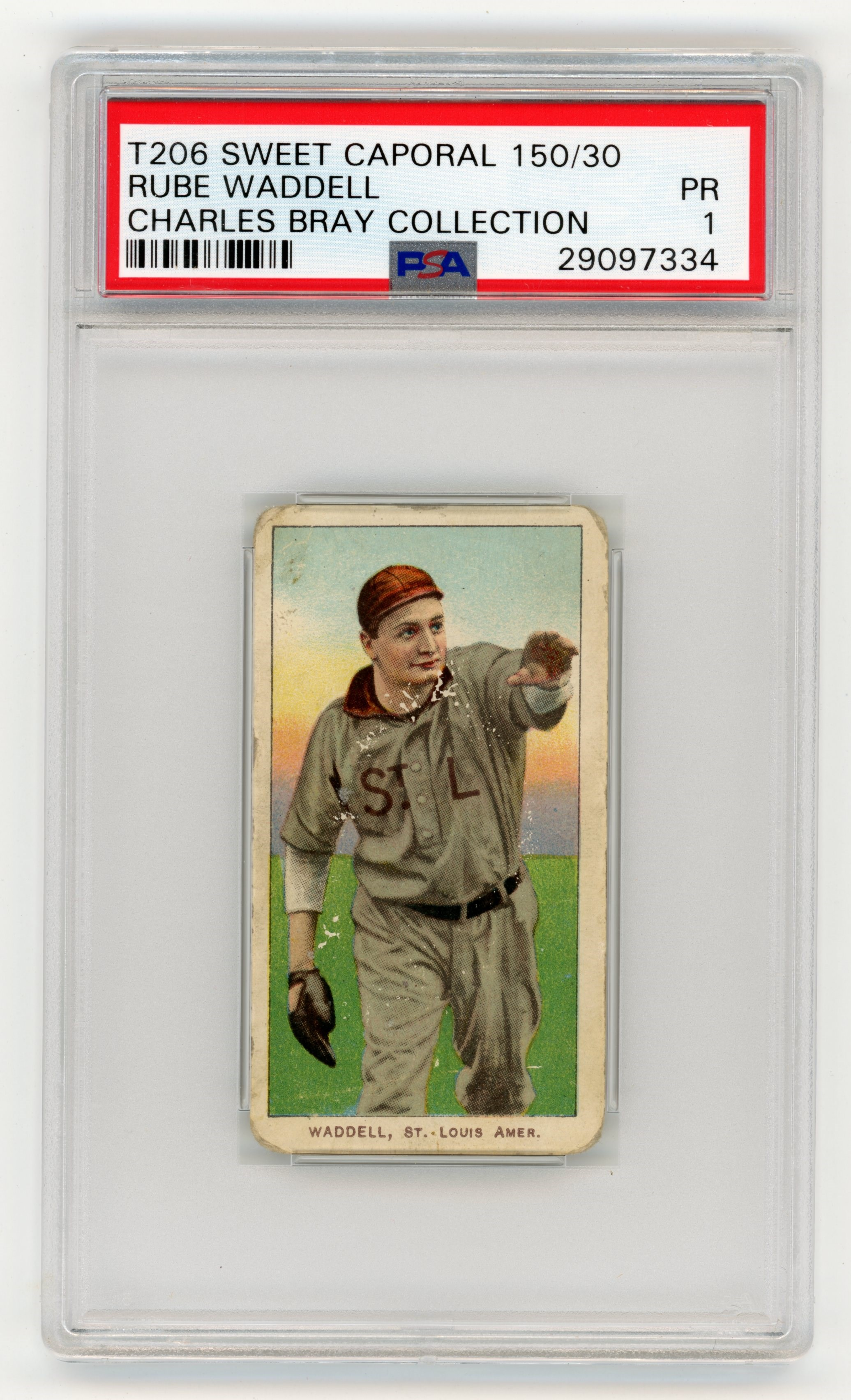 T206 Sweet Caporal 150/30 Rube Waddell PSA 1 From Charles Bray Collection