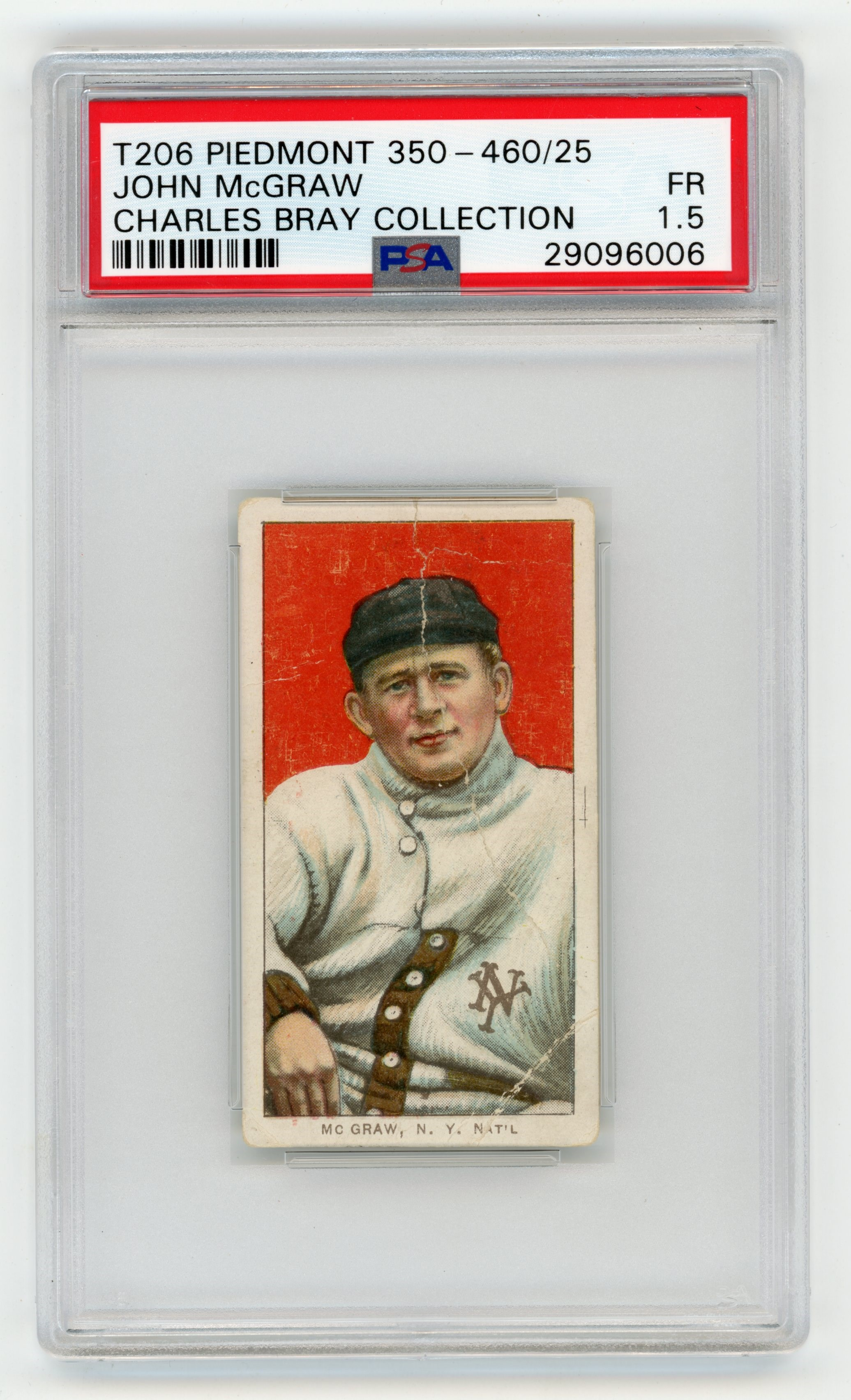 T206 Piedmont 350-460/25 John McGraw PSA 1.5 From Charles Bray Collection