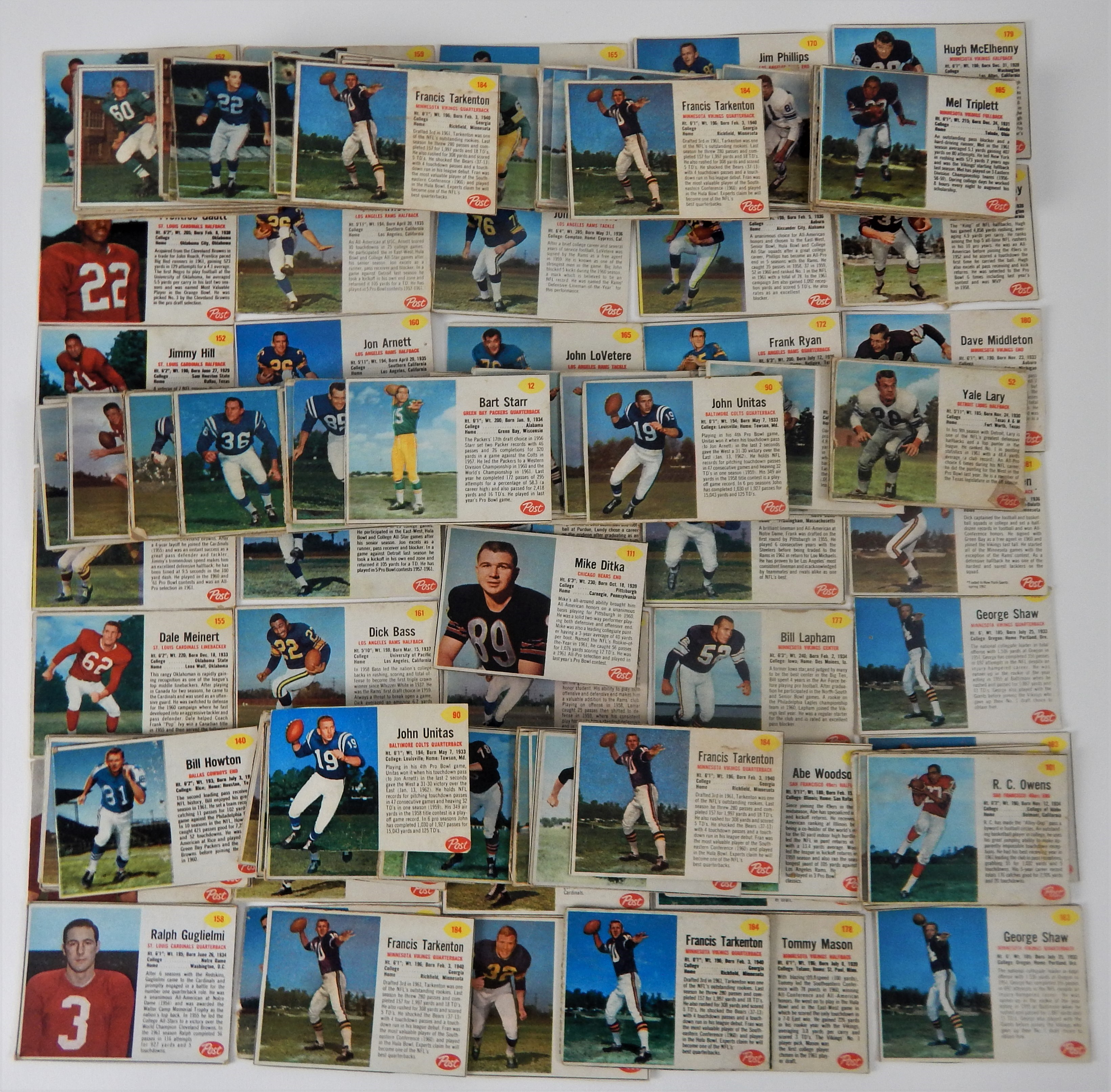 1962 Post Cereal Football Card Starter Set with Stars (211)