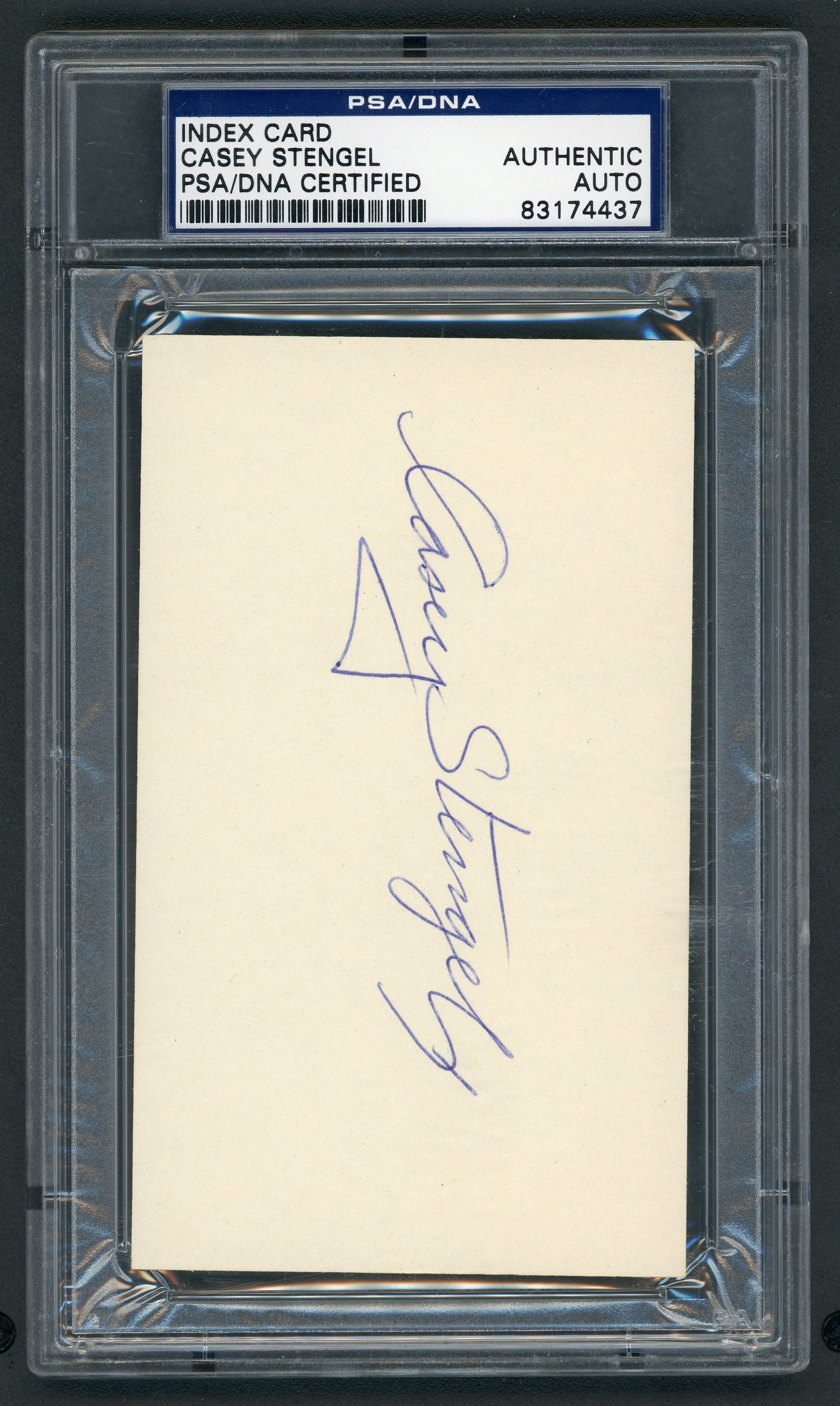 Mint Casey Stengel Signed Index Card (PSA/DNA)