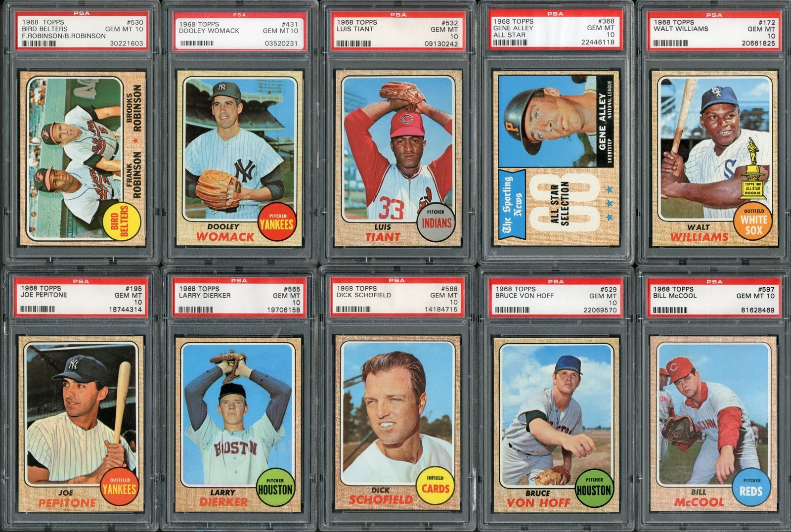 Magnificent 1968 Topps PSA GEM MINT 10 Partial Set (280+)