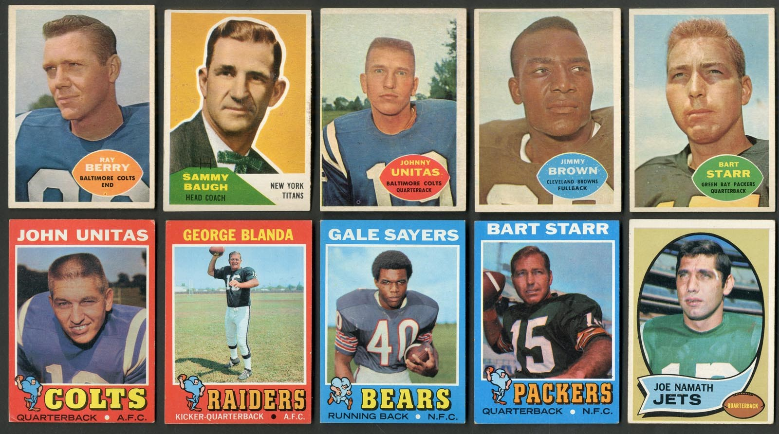 1960s-70s Topps & Fleer Football Near and Partial Sets - Unitas, Namath, Brown (925+ Cards from 10 Sets)