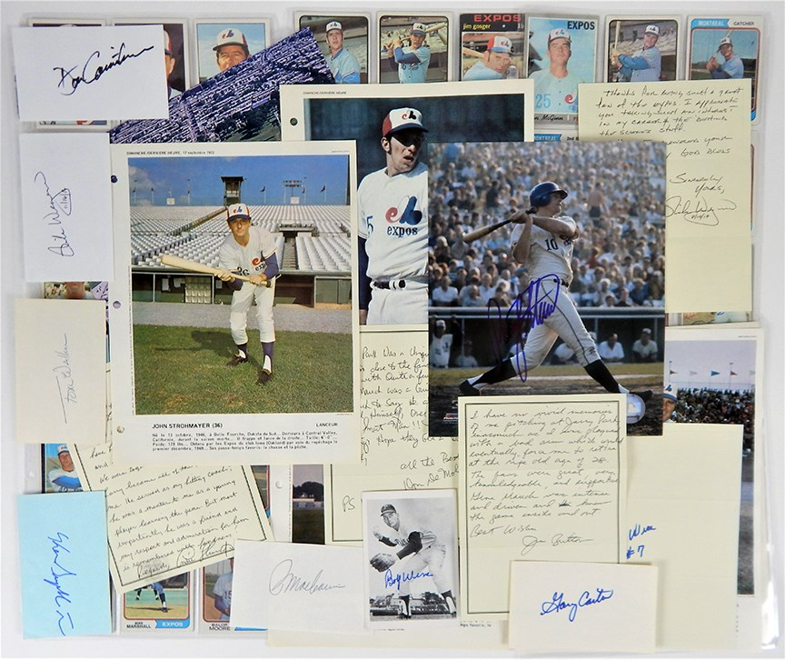 Montreal Expos Letters, Cards and Autographs with a Nice Rusty Staub Signed Photo