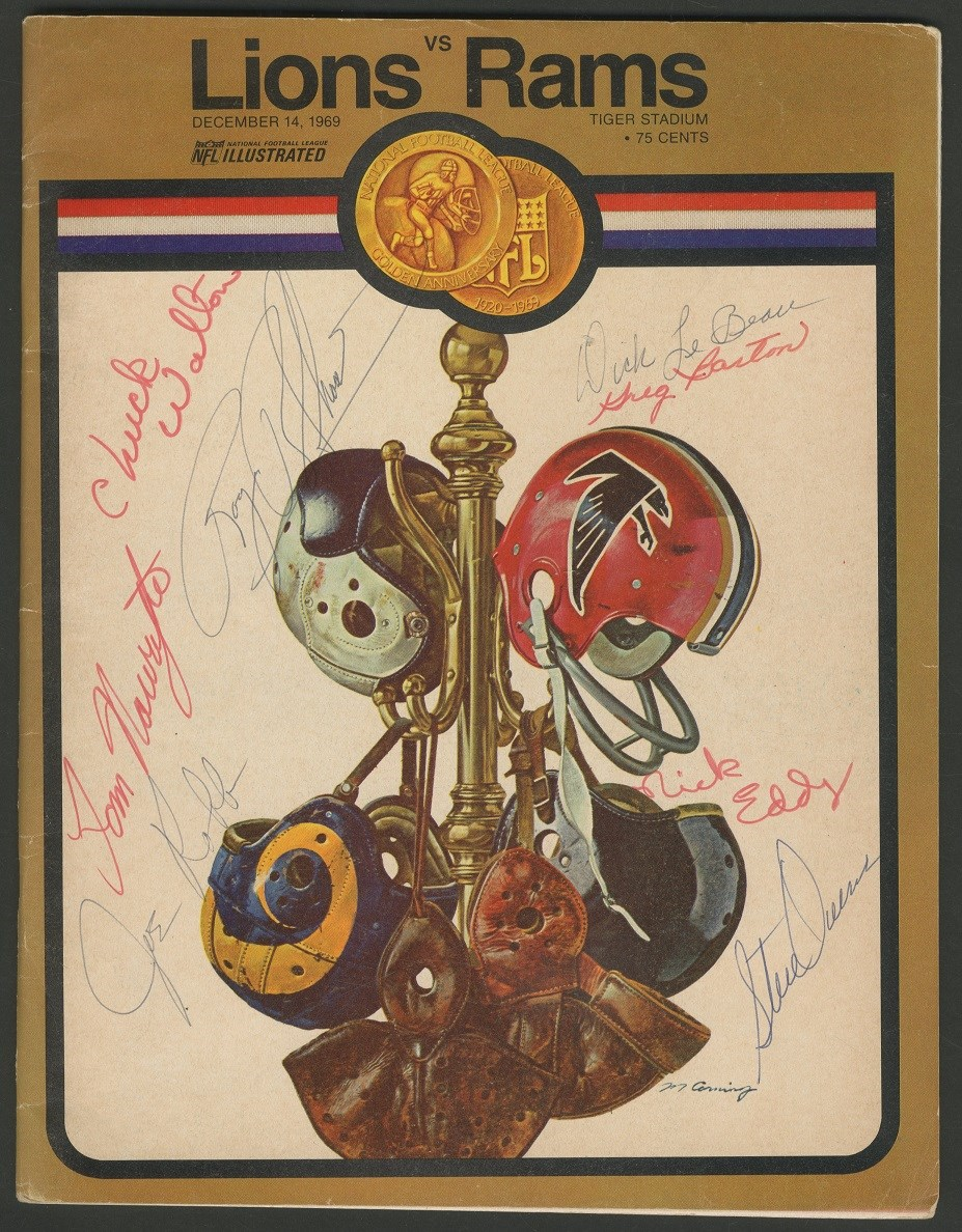 1969 Lions vs. Rams Team Signed Program