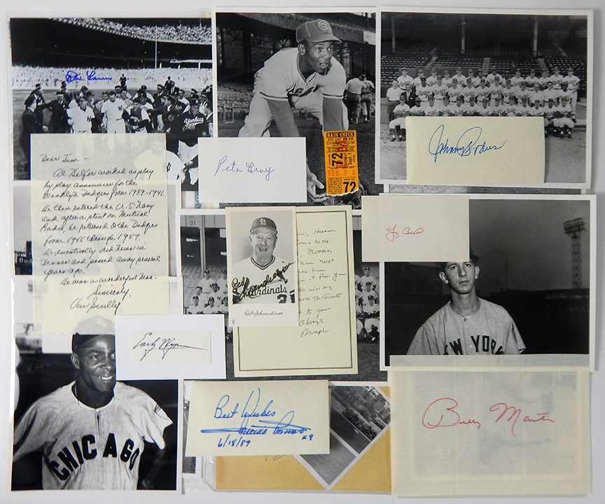 Collection of Baseball Autographs, Photographs & Letters w/ Willie Mays Home Run Ticket Stub (200+)