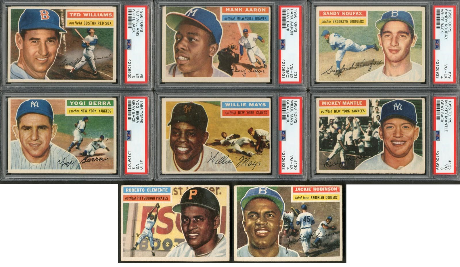 1956 Topps Baseball Complete Set w/Six PSA Graded (342/342)