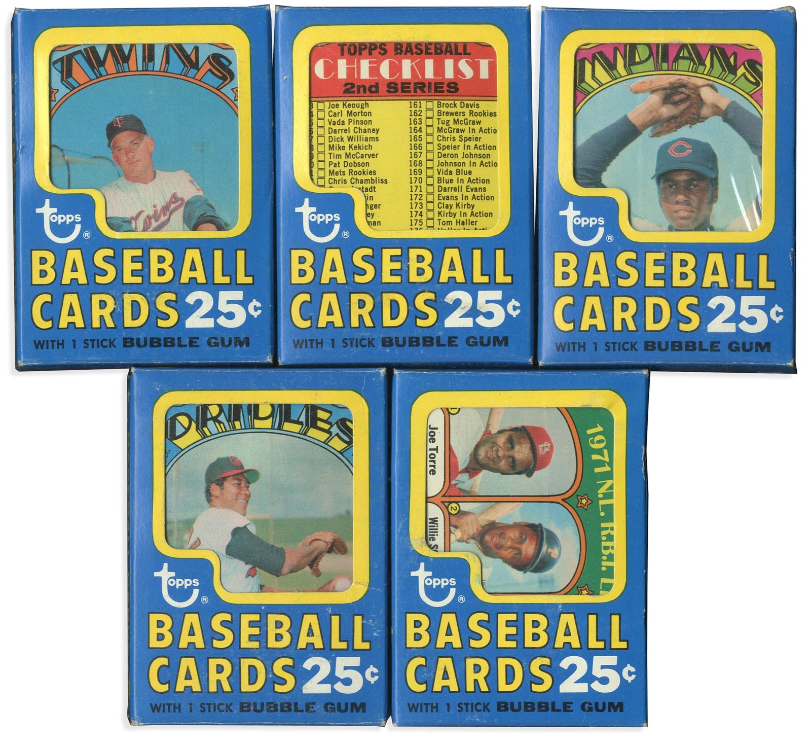 (5) 1972 Topps Baseball Unopened 30-Card Cello Box Packs