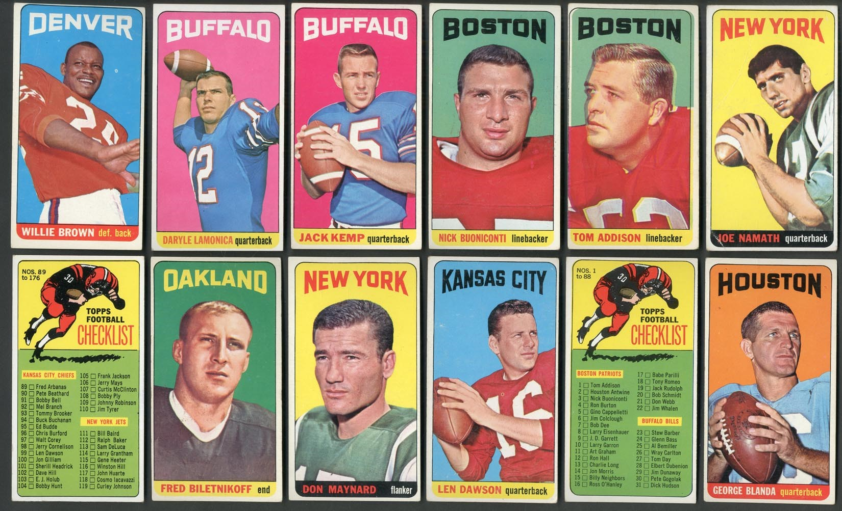 1965 Topps Football Near Complete Set w/Namath Rookie (175/176)