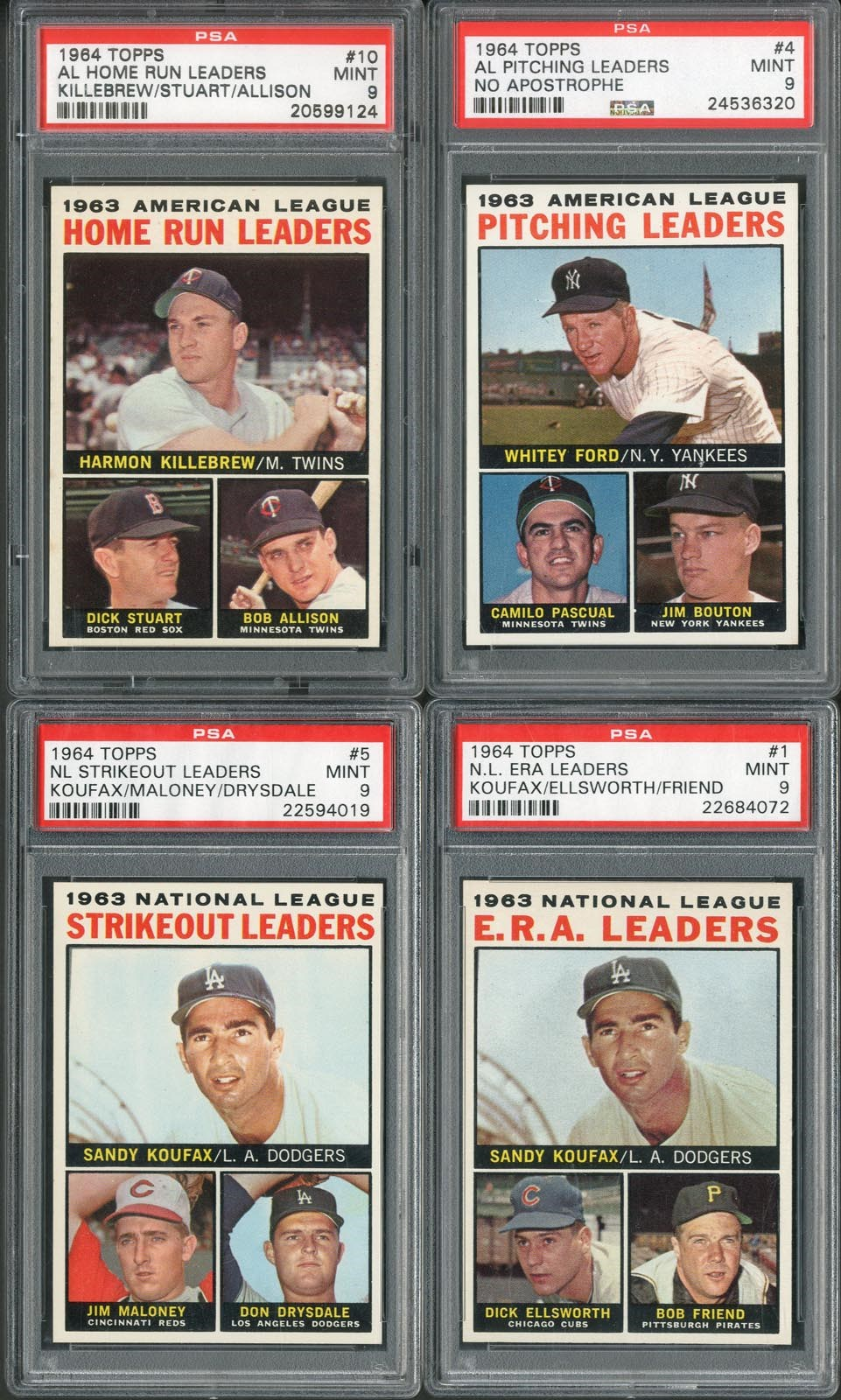 1964 Topps PSA MINT 9 Leaders Collection (4)