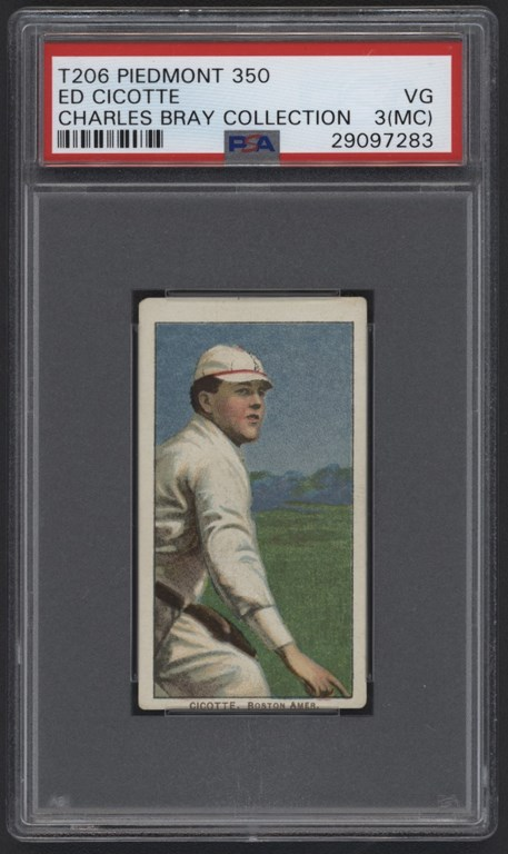 T206 Piedmont 350 Ed Cicotte PSA VG 3 (MK) From Charles Bray Collection