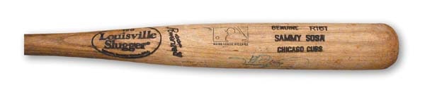 "1999 Sammy Sosa Sixty-third Home Run Used Bat (35"")"