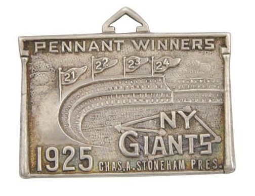 1925 New York Giants Sterling Silver Season Pass Presented to Nat Fleischer of