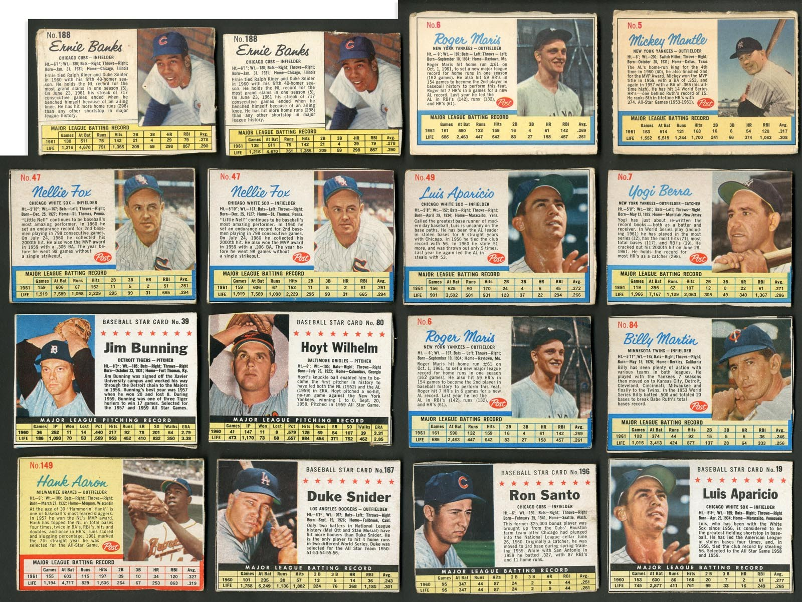 1961-63 Post Cereal Collection - Mantle (Ad Back), Clemente, Aaron, Maris (190+)