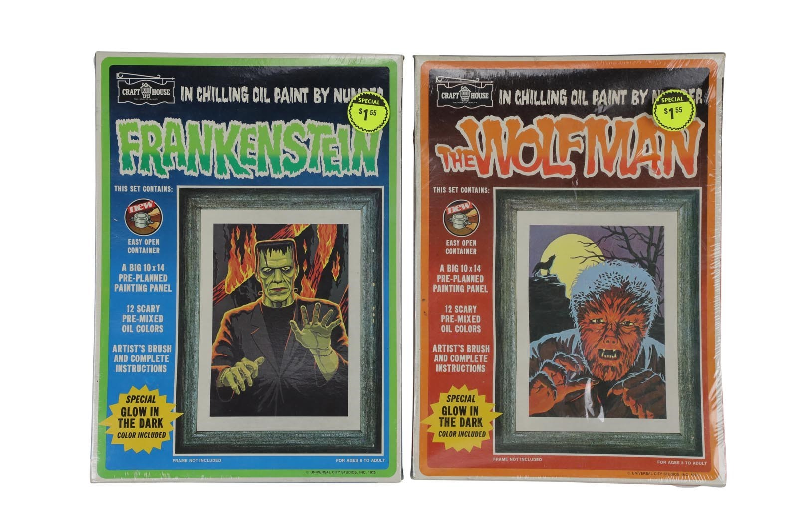 1975 Frankenstein & Wolfman Paint by Numbers Sets (2)
