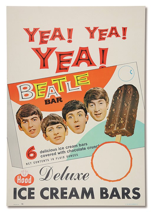 1965 The Beatles Brand Hood Ice Cream Poster w/Provenance