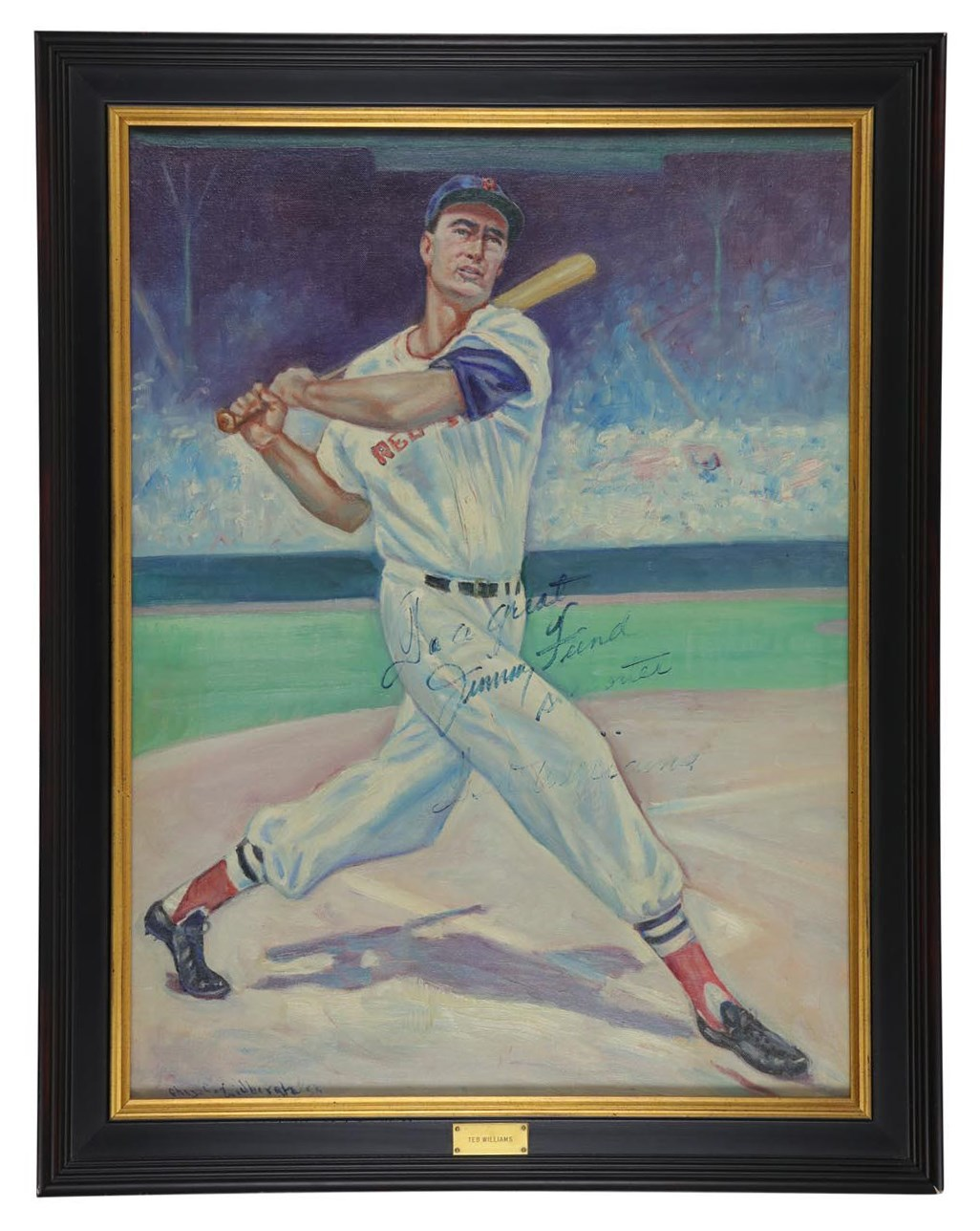 1958 Ted Williams Signed Jimmy Fund Presentation Painting (PSA)