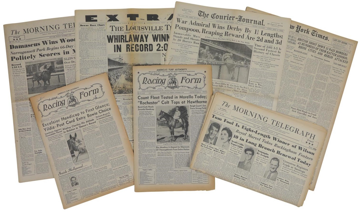 Famous Racehorses Historic Newspapers & Daily Racing Forms (20)