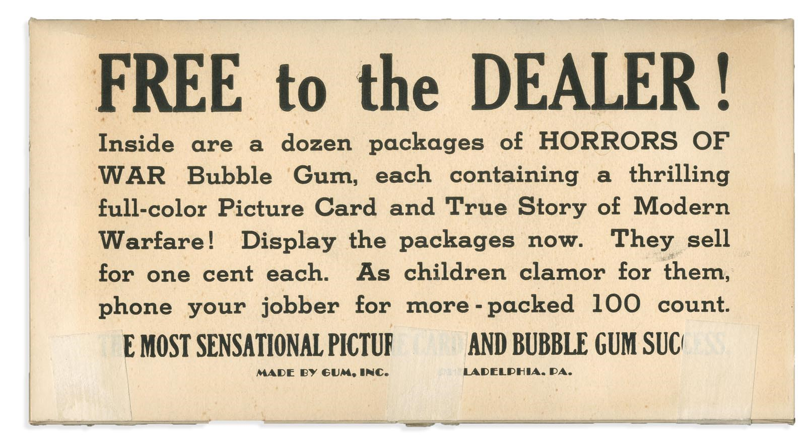 1937 Gum Inc. Horrors of War Folder/Box - Only One Known