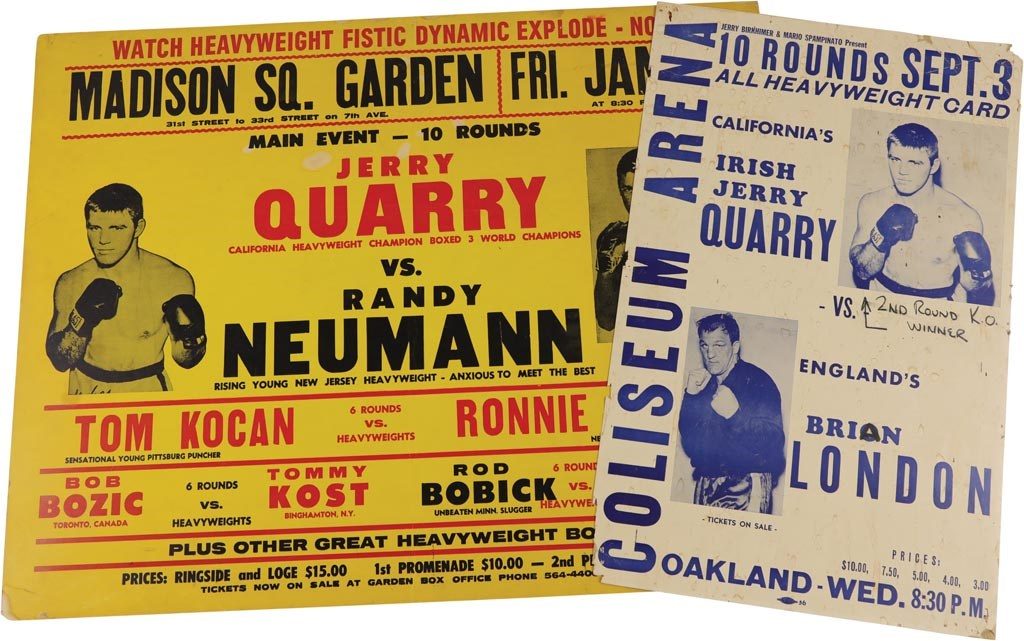 1969-73 Jerry Quarry Boxing On-Site Fight Posters (2)
