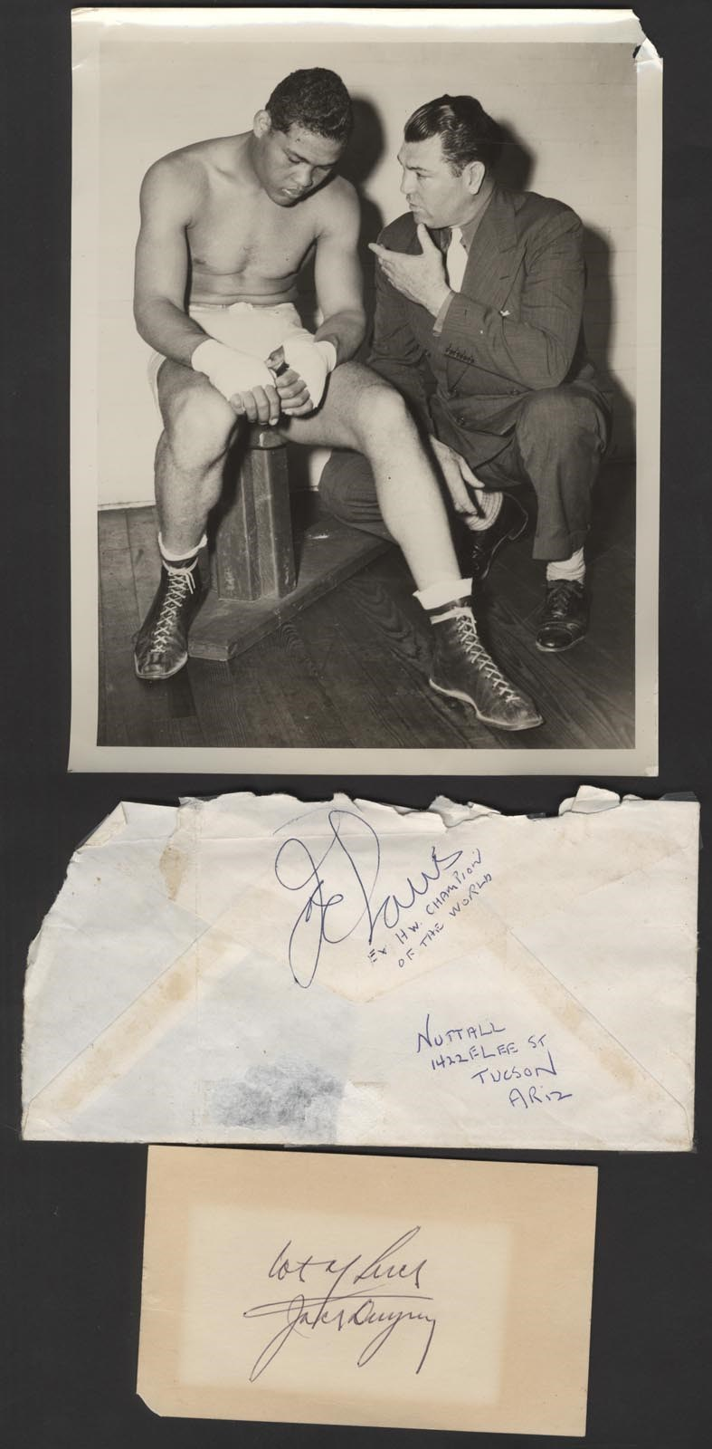 Joe Louis & Jack Dempsey Autographs (3)