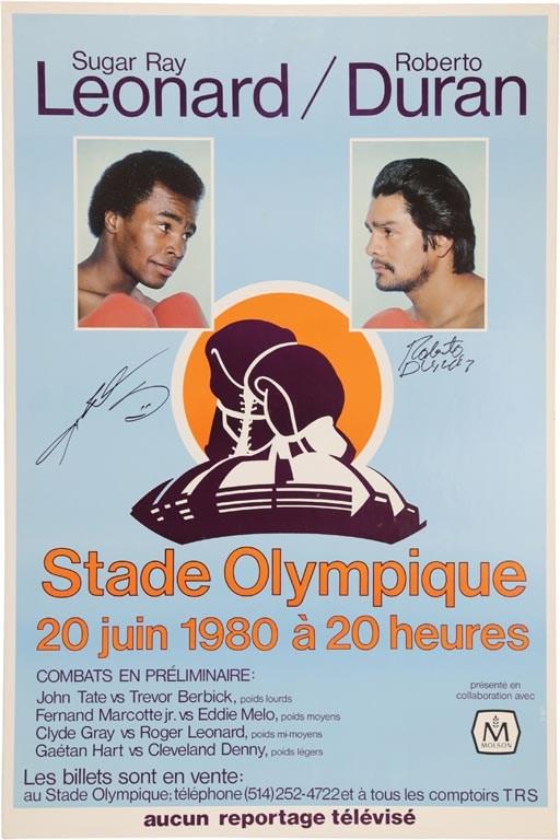 1980 Roberto Duran vs  Sugar Ray Leonard Signed On-Site