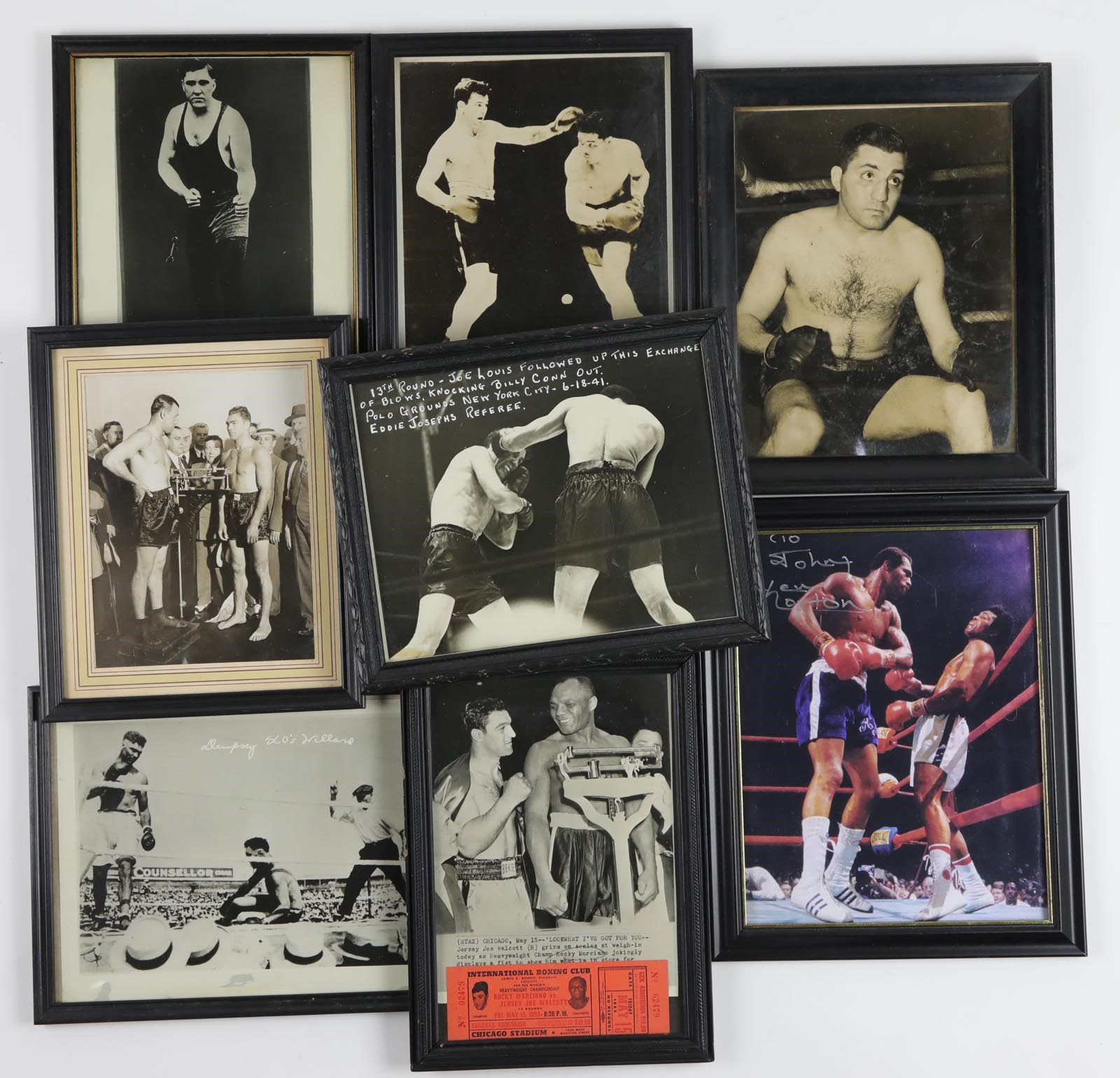 Vintage Boxing Photos in frame with Gorgeous Freddie Welsh Signed Photo (16)