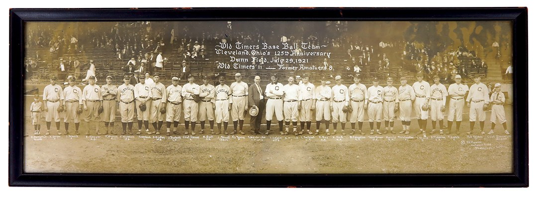 1921 Cy Young and Cleveland Old Timers Baseball Team Panorama