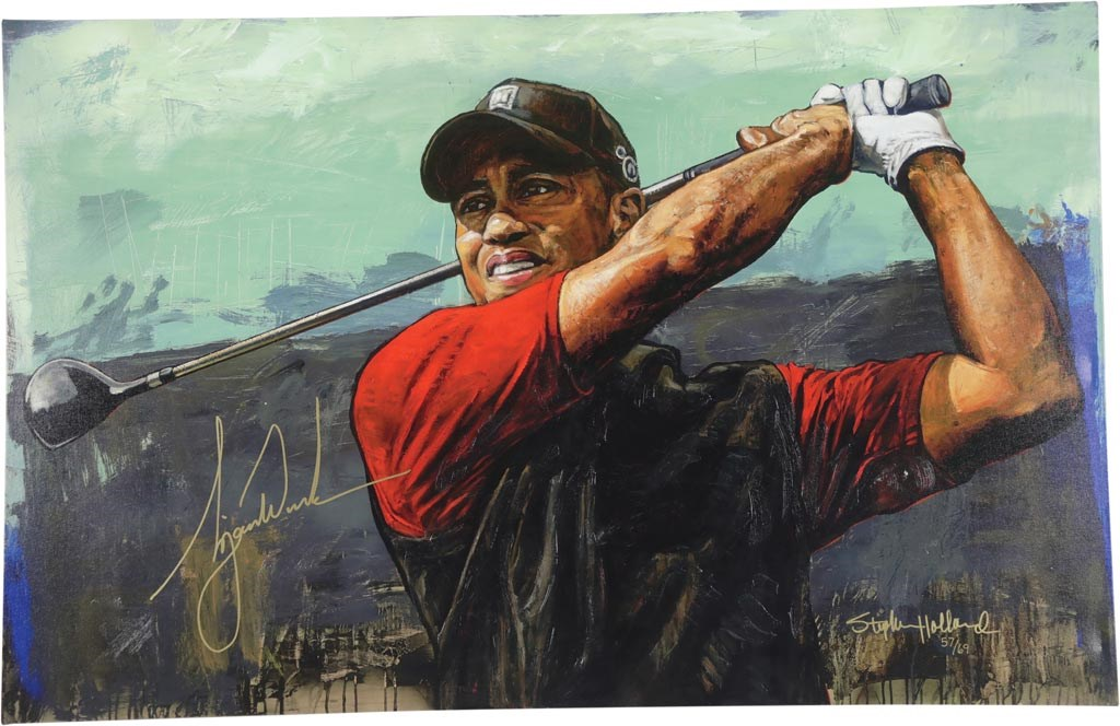 Tiger Woods Signed Giclee by Stephen Holland - Largest Tiger Signature Known to Mankind!