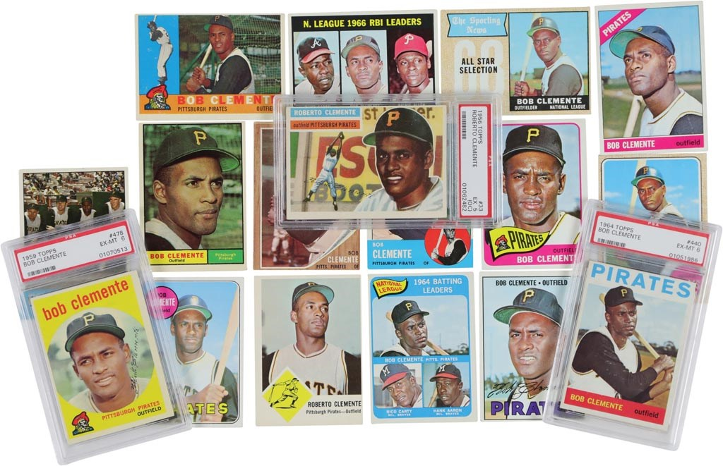 1956-69 Topps Roberto Clemente Near-Complete Run w/PSA Graded (18)