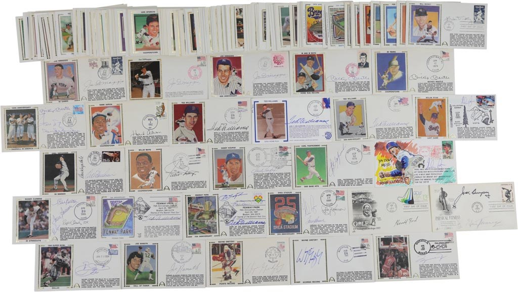Magnificent Multi-Sport Signed First Day Cover Collection - Mantle, Williams, Jordan, DiMaggio (160+)