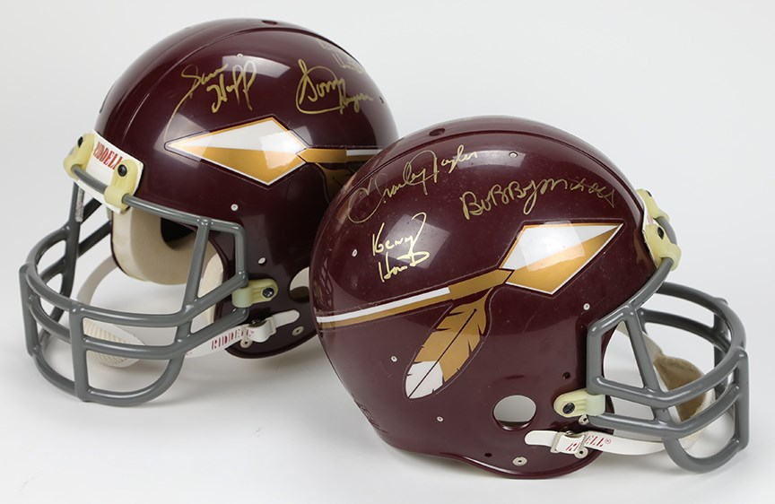 Pair of Redskins Greats Signed Helmets