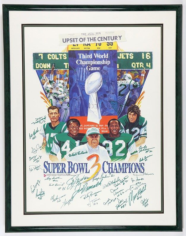 1969 Super Bowl Champion New York Jets Team Signed Poster