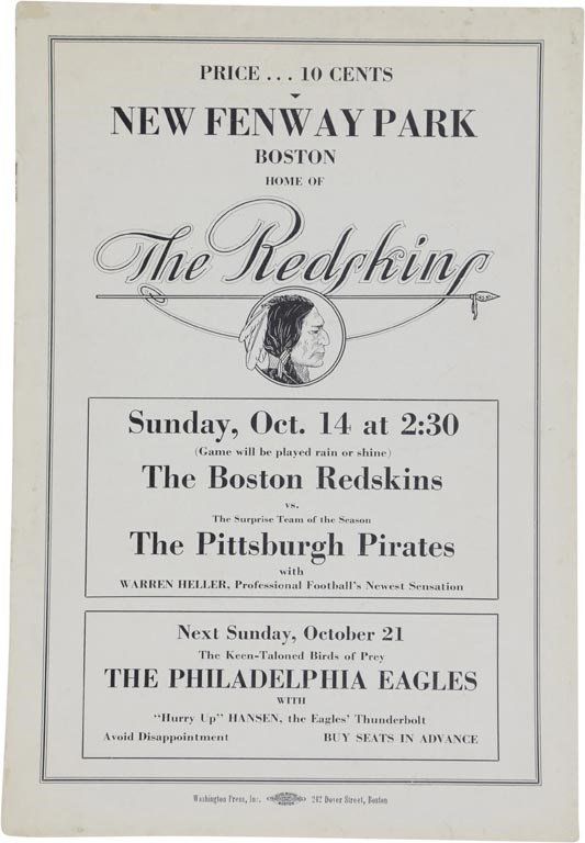 Rare 1934 Boston Redskins vs. Pittsburgh Pirates at NEW Fenway Park Program