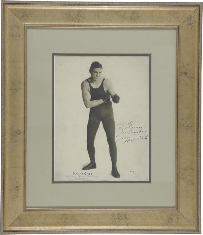 1922-23 Harry Greb Signed Oversized Photograph to his Manager Joe Sanders
