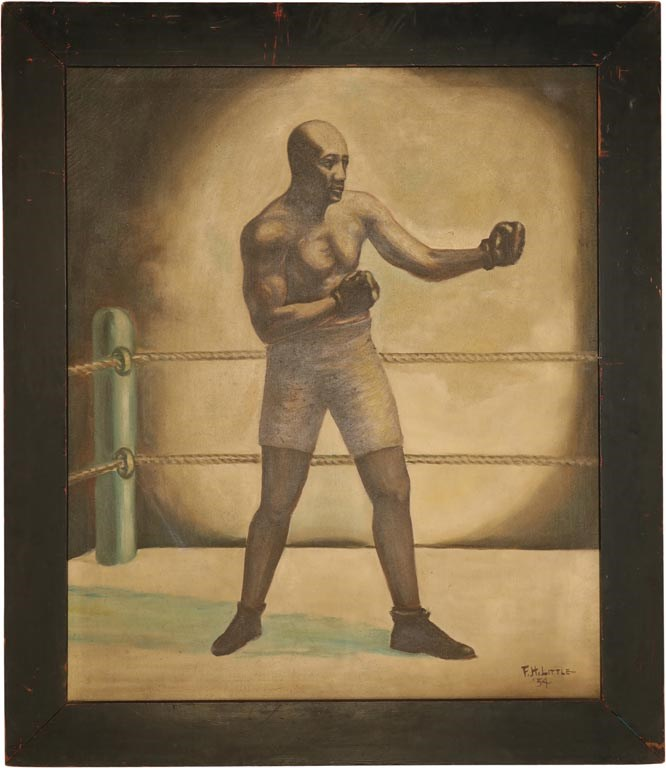 1934 Jack Johnson Oil On Canvas by F.H. Little