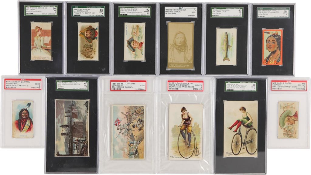 Large Collection of 1880s-1910s Non-Sport Tobacco Cards with PSA & SGC Graded (95+)