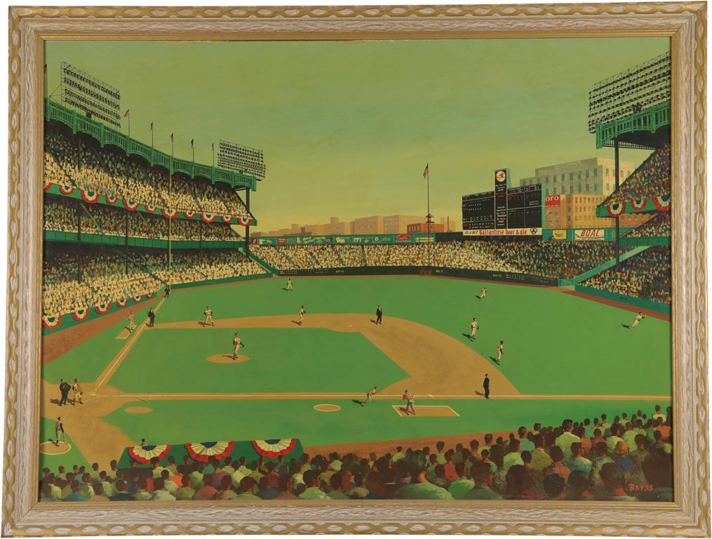 1960 All-Star Game Original Oil Painting by William Barss - Impeccable Hall of Fame Provenance