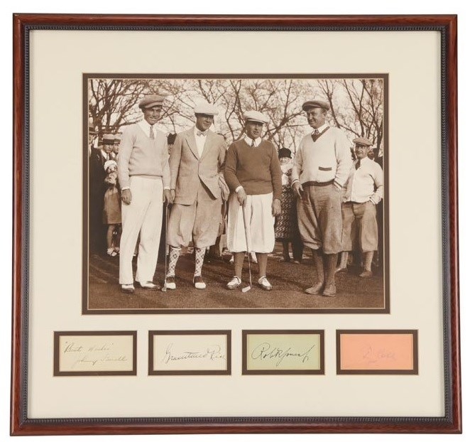 Circa 1930s Ty Cobb and Bobby Jones Golfing Signature Display (PSA)