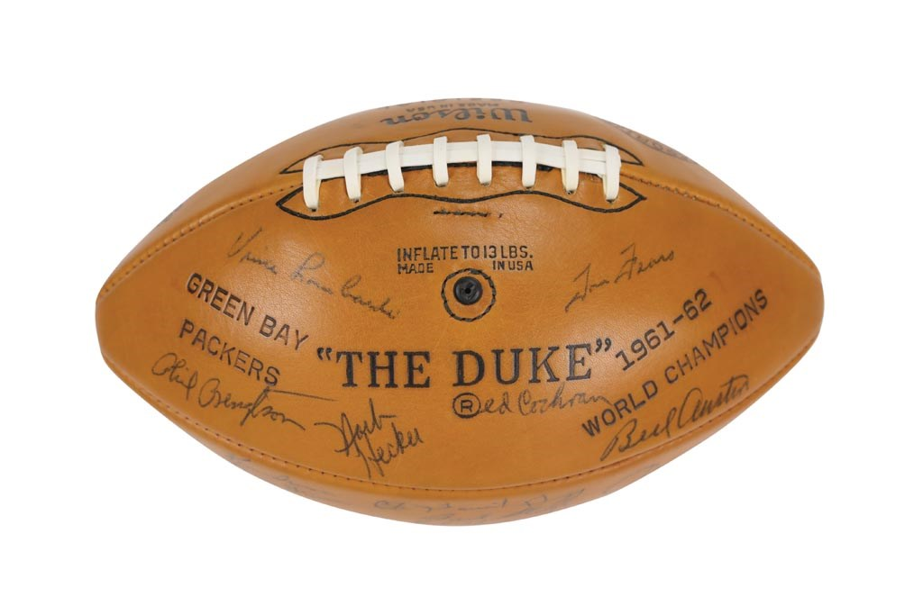 1961-62 Green Bay Packers World Champions Team Signed Football (JSA)