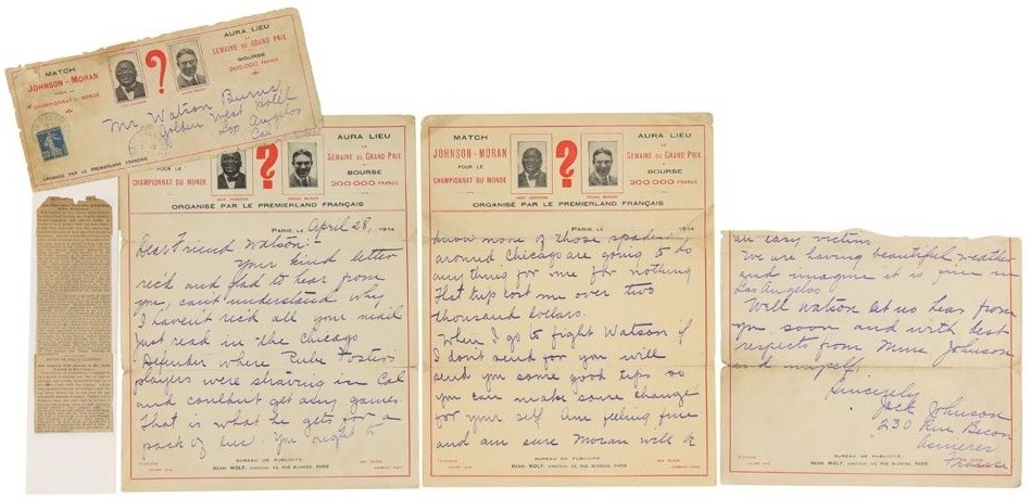 1914 Jack Johnson Three-Page Handwritten & Signed Letter with Great Baseball and Boxing Content
