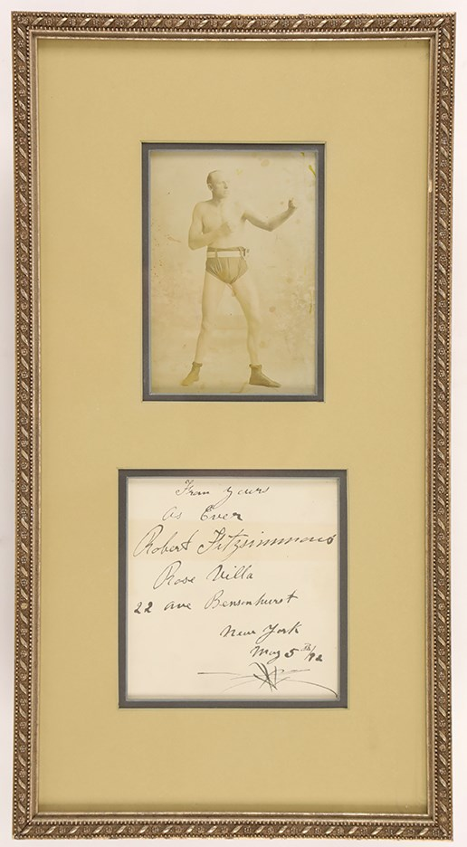 1892 Bob Fitzsimmons Signed Display