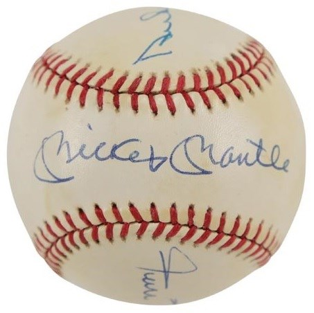 Willie, Mickey, and The Duke Signed Baseball (PSA)
