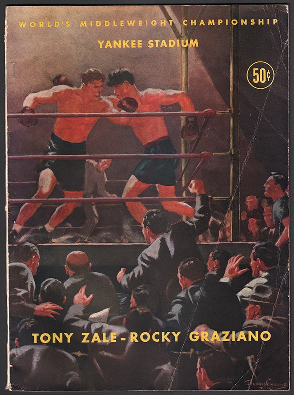 1946-48 Rocky Graziano vs. Tony Zale Fight Programs Lot of 4
