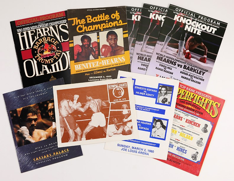 1979-91 Thomas Hearns On-Site Fight Programs Lot of 9