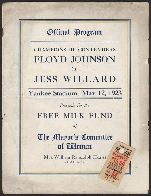 1923 Jess Willard vs. Floyd Johnson Fight Program.& Ticket from the First Boxing Match at Yankee Stadium