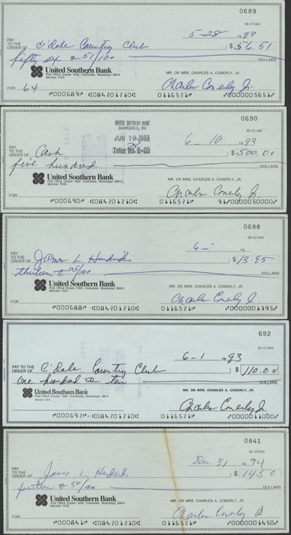 Charlie Conerly Signed Check Collection (5)