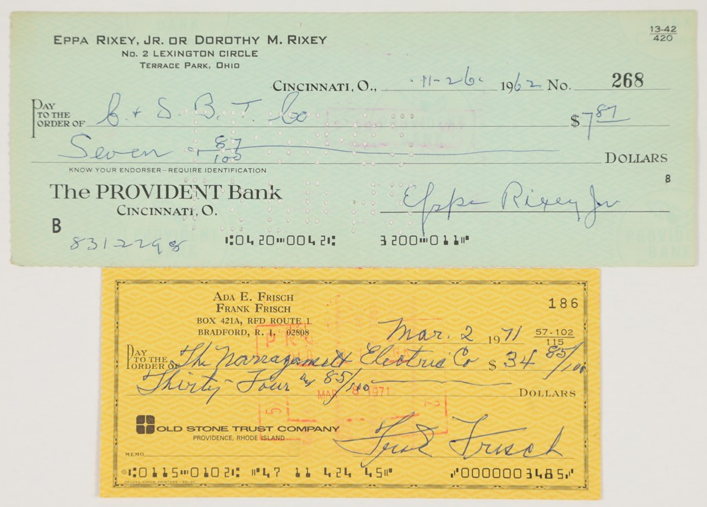 Frank Frisch & Eppa Rixey Signed Checks
