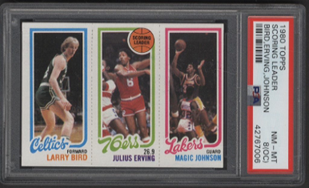 1980 Topps Larry Bird, Julius Erving, Magic Johnson Rookie (PSA 8oc)